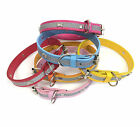 Adjustable PU Leather Dog Puppy Pet Collar with Reflective Safety Stripe. Medium