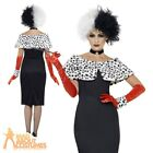Cruella De Ville Evil Madame Costume Ladies Womens Day Fancy Dress Outfit