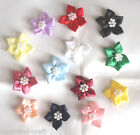 10 X RIBBON STAR FLOWER BOW WITH 7 PEARL CENTRE APPROX 40mm WIDE