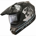 Adult DOT ATV Motocross Helmet Flame (411) 183 Matt Black W/visor