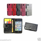 Premium Croco Wallet Leather Case Cover For Apple iPhone 4 4S