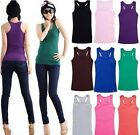 New Ladies Ribbed Long Bodycon  Sleeveless Racer Back Vest Sports Bra Muscle Top