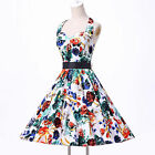 Free Shipping! Floral Rockabilly Vintage Pinup Swing Cocktail Prom Party Dress