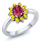 1.35 Ct Oval Pink Tourmaline Yellow Sapphire 925 Sterling Silver Ring