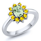 1.50 Ct Oval Green Amethyst Yellow Sapphire 925 Sterling Silver Ring