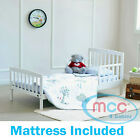 "MCC White Wooden ""Montana"" Toddler/Junior/Kids Bed & Water Repellent Mattress"