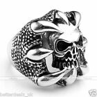 316L Stainless Steel Punk Heavy Biker Dragons Claw Skull Ring Rock Style Gift
