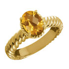 1.60 Ct Oval Checkerboard Yellow Citrine 925 Yellow Gold Plated Silver Ring