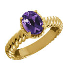 1.66 Ct Oval Purple Amethyst 925 Yellow Gold Plated Silver Ring