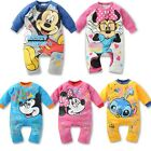 Baby Kids Boys Girls Mickey&Minnie Jumpsuit Bodysuit Outfits Rompers For 0-3Ys