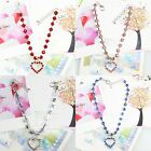 CZ 4 Colors Rhinestones Crystal Pet Collar Necklace With Hear Charm, Dog Jewelry