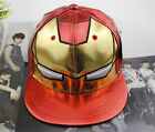 PU leather iron man Visor red gold cartton adjustable cool unisex cap hat