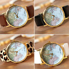 WOMENS TRENDY WORLD MAP TYPE FAUX LEATHER ANALOG QUARTZ CHIC WRIST WATCH