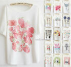 Women's Girls Cute Print T-Shirt Thin Plus Size Loose Batwing Sleeve Top 24Style