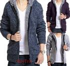 NEW Mens  Fashion Wool Knitted Warm Zip Cardigan Sweater Hooded jacket coat