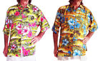 LOUD HAWAIIAN SHIRT yellow with blue or pink Hibiscus flowers STAG NIGHT HOLIDAY