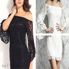 Sexy Woman Strapless Trumpet Long Sleeve Slim  Mini Dress Solid Casual Skirt Hot