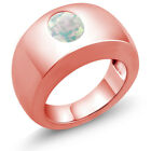 1.60 Ct Oval Cabouchon White AAA Opal 14K Rose Gold Men's Solitaire Ring