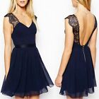 Women's Lace Chiffon Backless V Neck Prom Evening Cocktail Party Formal Dress