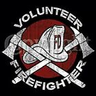 VOLUNTEER FIRE FIGHTER T SHIRT CHEST LOGO M TO 6X BLACK OR GRAY