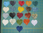 "Batik Die Cut Fabric 20 pc SMALL HEART applique YOU CHOOSE COLOR 2"" NO HEAT BOND"