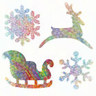 Batik Die Cut Fabric 8 SNOWFLAKE SLEIGH REINDEER appliques CHOOSE COLOR NO HEAT