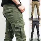 Mens Fashion Vintage Cargo Zipper Pocket Skinny Pants 519, GENTLERSHOP