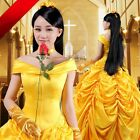 Hot Disney Beauty and the Beast Princess Belle Cosplay Costume Gown Dress All Sz