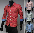 Mens Luxury Casual Slim Fit Stylish Dress Shirts Long Sleeve Grid Business Shirt