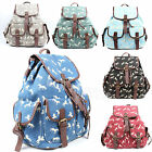 Ladies Canvas Horse Designer Large Backpack Women Rucksack Shoulder School Bag