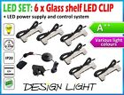 SET:  Metal LED CLIPS LIGHT for GLASS SHELF + UK power system /colors, points