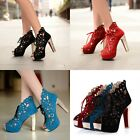 lace-up hollow out open toe chunky heels ladies Roman sandals shoes gladiator sz