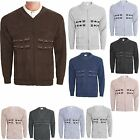MENS CLASSIC BUTTON OR ZIP FRONT UP VINTAGE GRANDDAD CARDIGAN KNITTED SIZE M-5XL