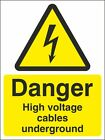 DANGER HIGH VOLTAGE CABLES UNDERGROUND SIGN, Choose Size, Rigid Sign or Sticker