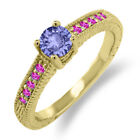 0.64 Ct Round Blue Tanzanite Pink Sapphire 18K Yellow Gold Engagement Ring