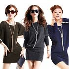 Sexy Lady Fashion Shining Batwing Long Sleeve Crew Neck Loose Mini Shift Dress