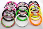 ab103m92 Leather Wrap Wristband Punk Magnetic Rhinestone Buckle Bracelet Bangle