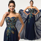 PEACOCK CHEAP Long Chiffon Party Evening Wedding Bridesmaid Prom Cocktail Dress