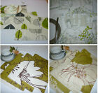 Green Placemats 4 Funky Cotton Fabric Dinner Mats Pre Shrunk Back Washable