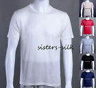 Mens 100% Silk Knitted T Shirts Casual Tee Size M L XL XXL Black White AF221
