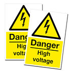 2 x A4 - Danger High Voltage Stickers Health and Safety Sign Electrical  #0222