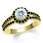 1.25 Ct Round Sky Blue Aquamarine Black Diamond 14K Yellow Gold Ring