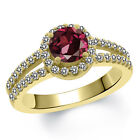 1.50 Ct Round Red Rhodolite Garnet White Diamond 14K Yellow Gold Ring