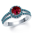 1.50 Ct Round Red Created Ruby Blue Diamond 14K White Gold Ring