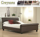 NEW Aspen Faux Leather Sleigh Bed Frame Black / Brown - Memory Foam Mattress