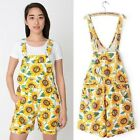 Sunflower Pinafore Short High Waist Dungaree Overall Denim Jean Suspend Playsuit