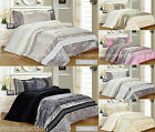 Embroidered Quilted Bedspread Throw or Duvet Cover Bedding Set with Fitted Sheet