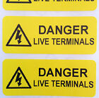 Electrical Safety Warning Labels - LIVE TERMINALS Labels - Yellow 50mm x 20mm