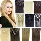 "8P Full Head 15"" 18"" 20"" 22"" 24"" Clip Remy Real Human Straight Hair Extensions"