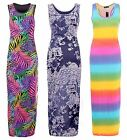 Womens Ladies Paisly Print Race Back Long Full Lenght Maxi Dress Size 8 - 14
